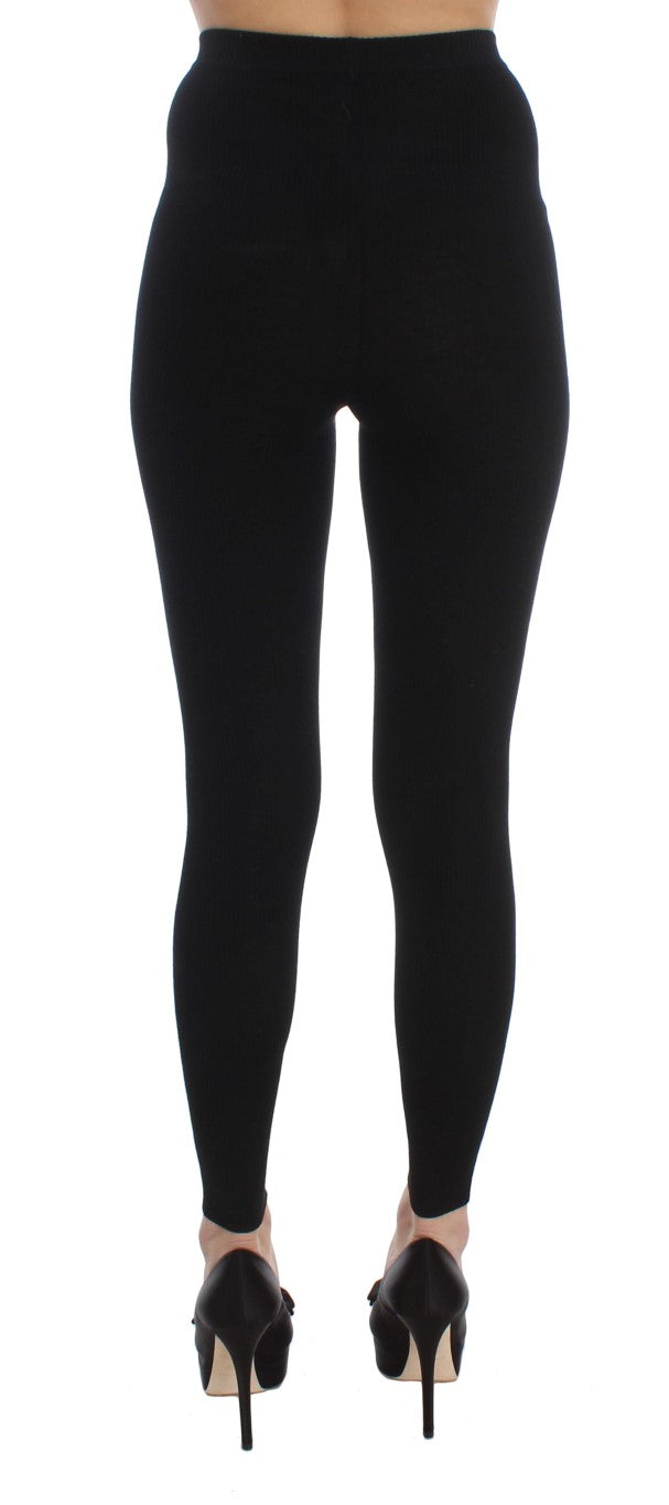 Black Wool Stretch Tights Pants