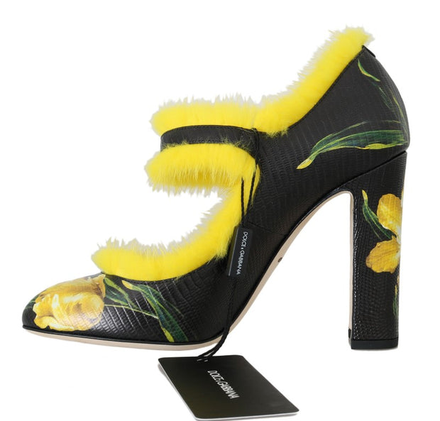 Black Yellow Leather Tulip Mink Fur Pumps