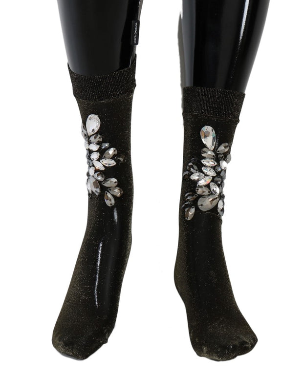 Black Stretch Floral Clear Crystal Socks