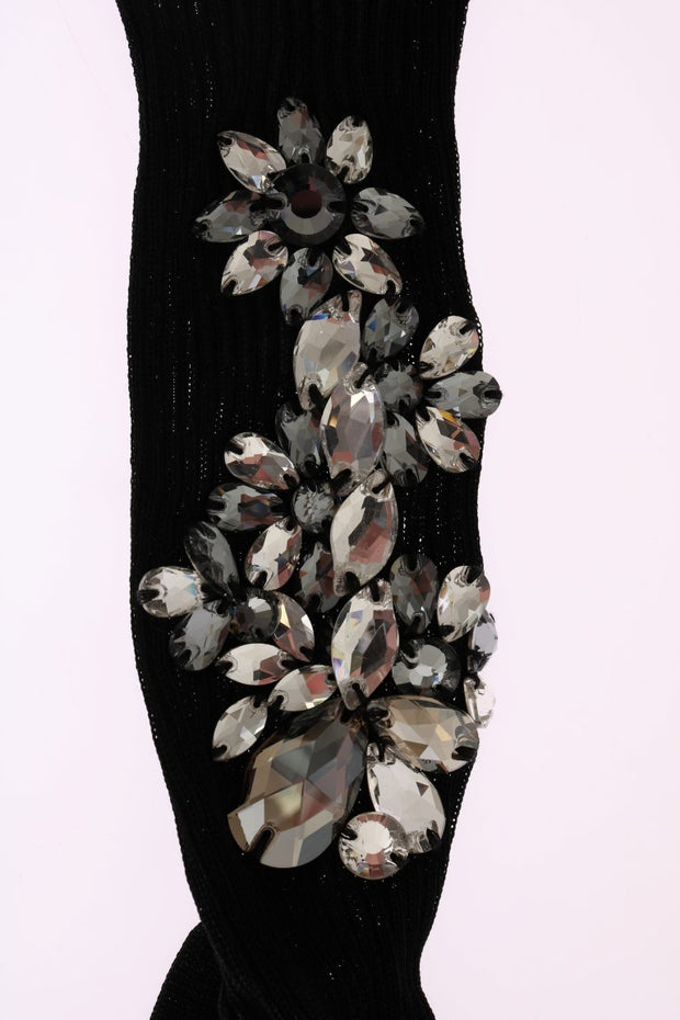 Black Knitted Floral Clear Crystal Socks