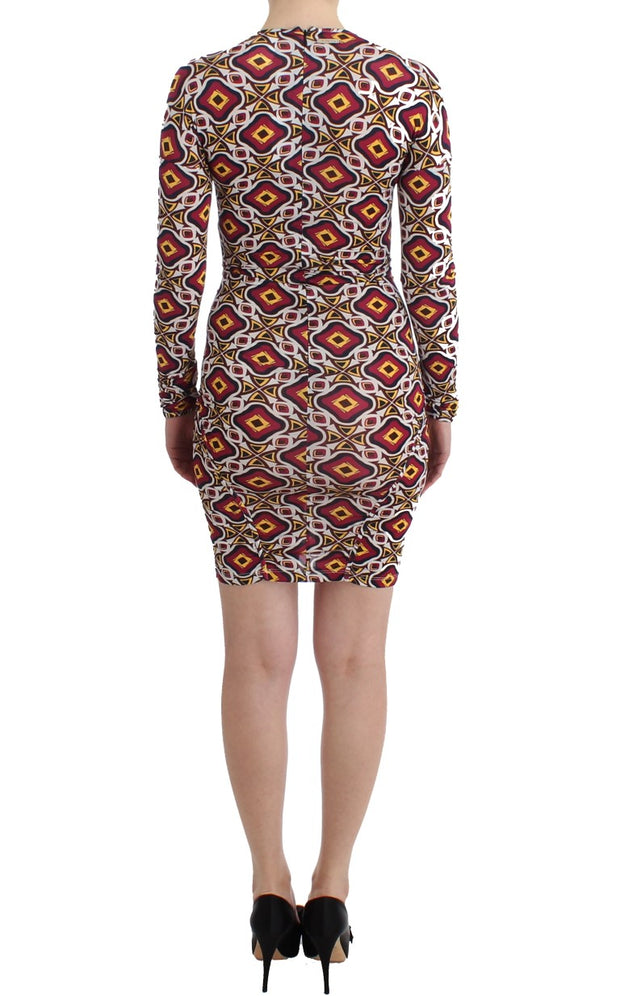 Multicolor Longsleeved Viscose Shift Dress