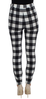 Black White Check Slim Fit Tights Pants