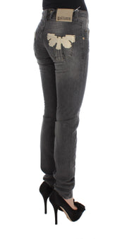 Gray Wash Cotton Blend Slim Fit Stretch Jeans