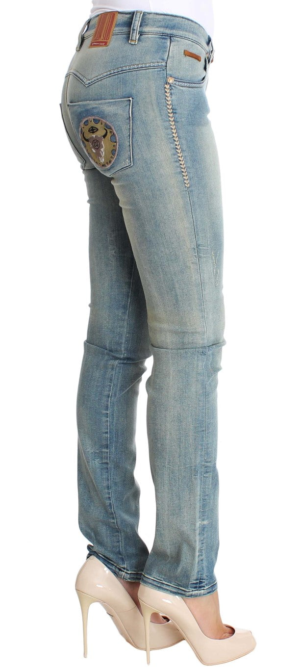 Blue Wash Cotton Stretch Skinny Slim Tight Fit Jeans