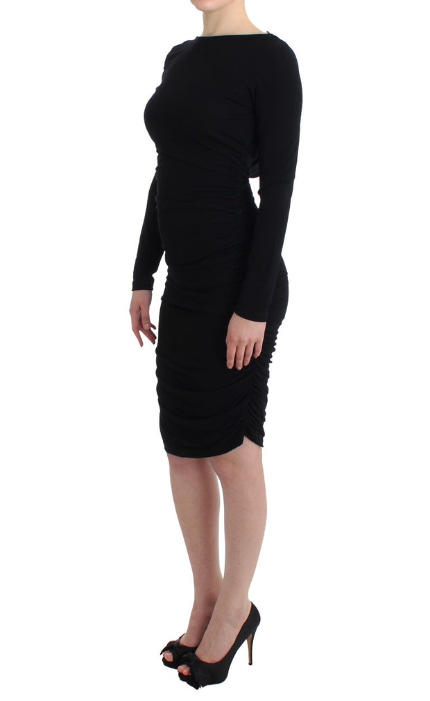 Black Longsleeved Wiggle Viscose Pencil Dress