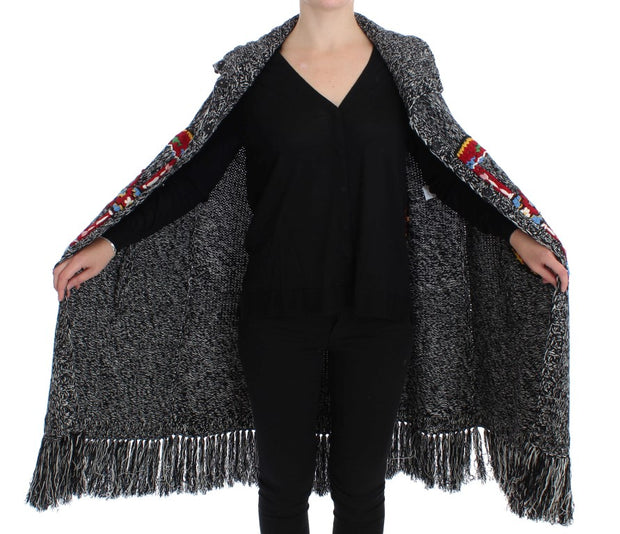 Gray Knitted Cashmere Wool Cardigan Cape