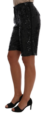 Black Sequined Fashion Shorts