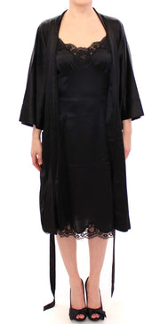 Black Silk Lace Dressing Gown Robe
