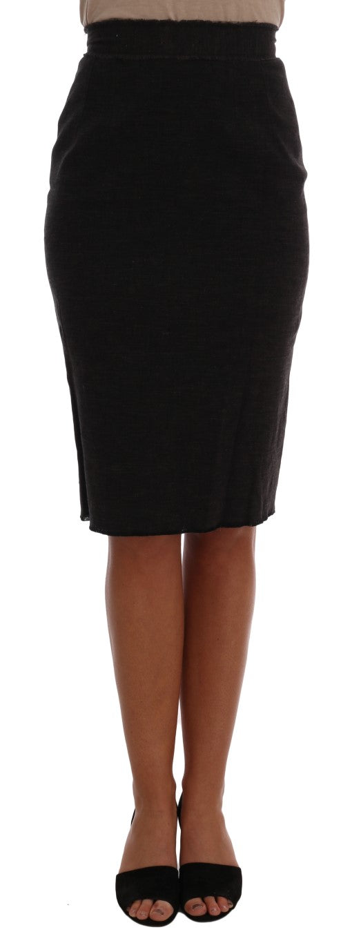 Gray Wool Pencil Skirt