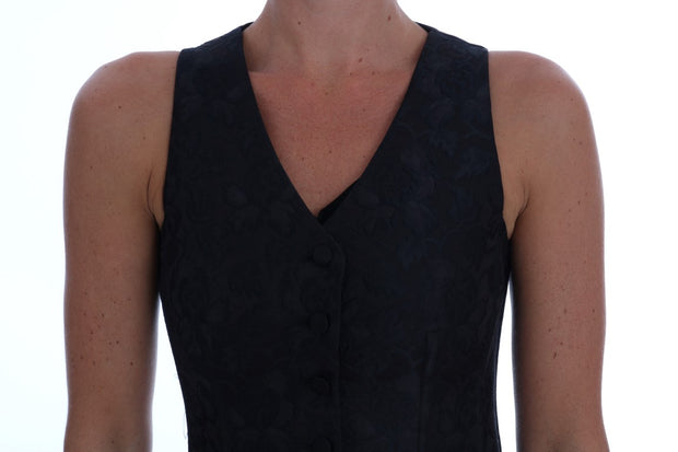 Black Silk Floral Brocade Vest