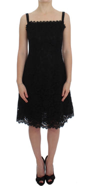 Black Floral Lace Shift Knee Length Dress