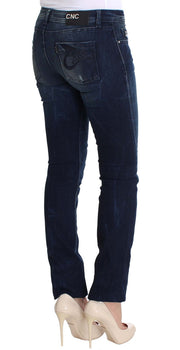 Blue Wash Cotton Slim Fit Skinny Jeans