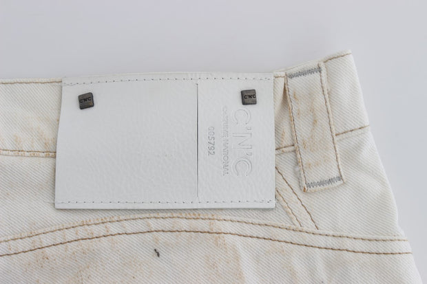 White Cotton Slim Fit Bootcut Jeans