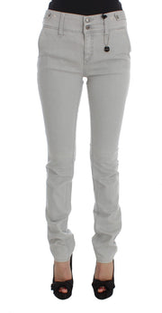Gray Cotton Blend Super Slim Fit Jeans