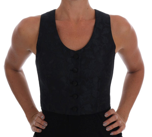 Black Silk Blue Baroque Brocade Vest