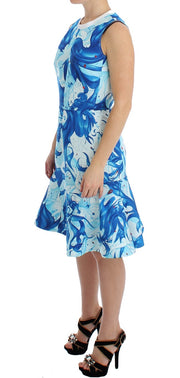Blue Tempestuous Fresco-Print Fluted Hem Dress