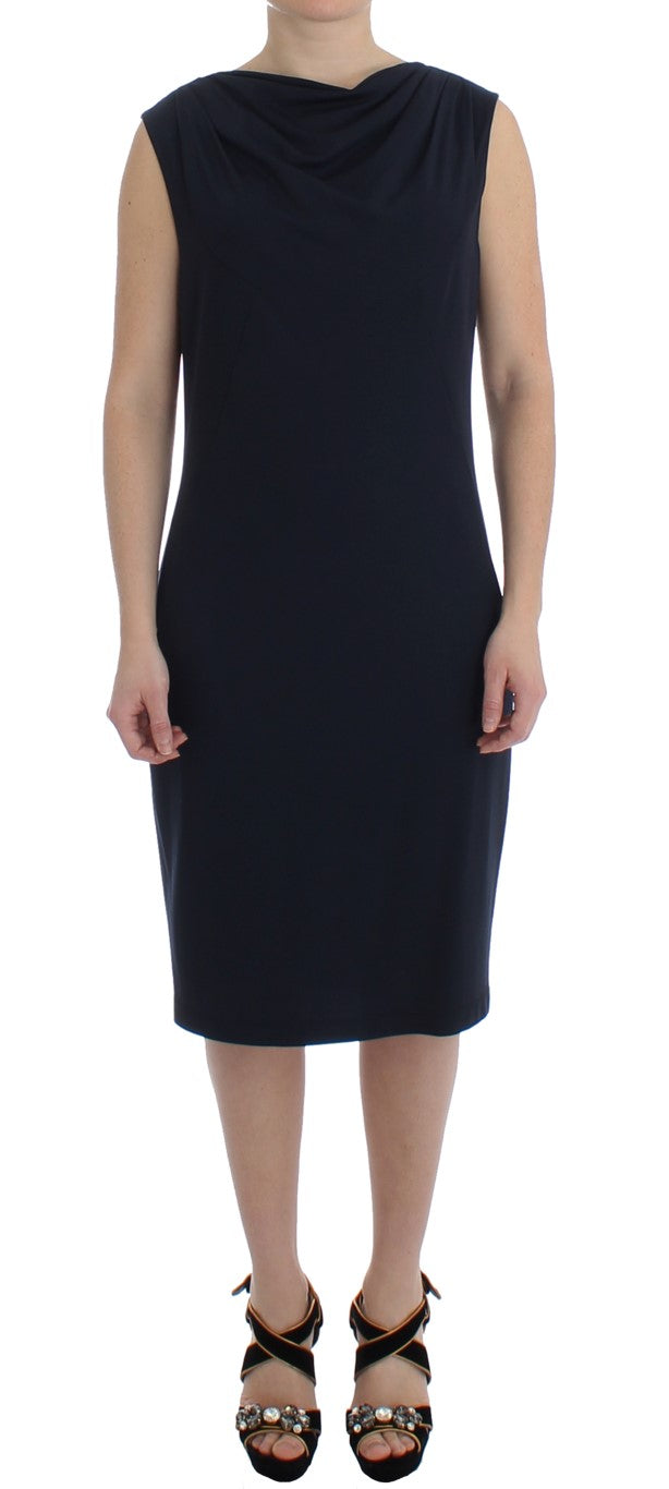 Blue Stretch Jersey Wiggle Sheath Dress