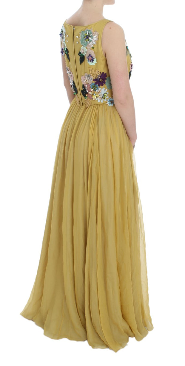 Yellow Silk Crystal Applique Shift Dress