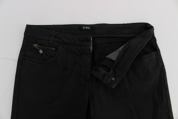 Black Cotton Capri Cropped Denim Jeans