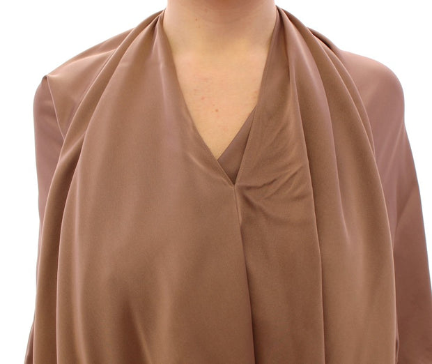 Brown Draped Silk Sheath Shift Coctail Dress