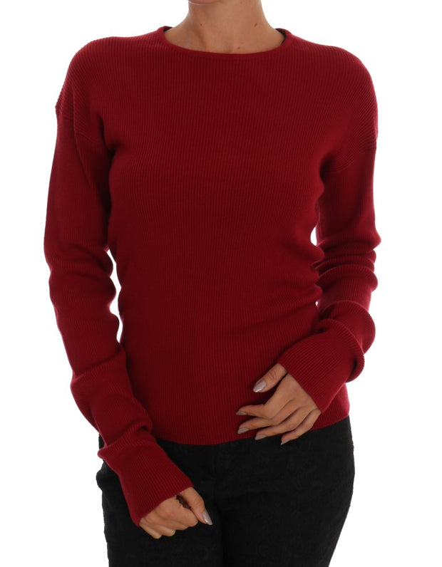 Bordeaux Cashmere Knit Pullover Sweater
