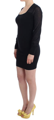 Black Longsleeved Knitted Sweater Dress