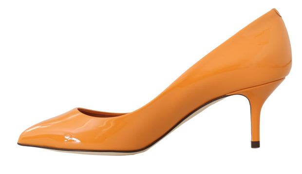 Orange Patent Leather Pumps