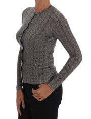 Gray Wool Top Cardigan Sweater