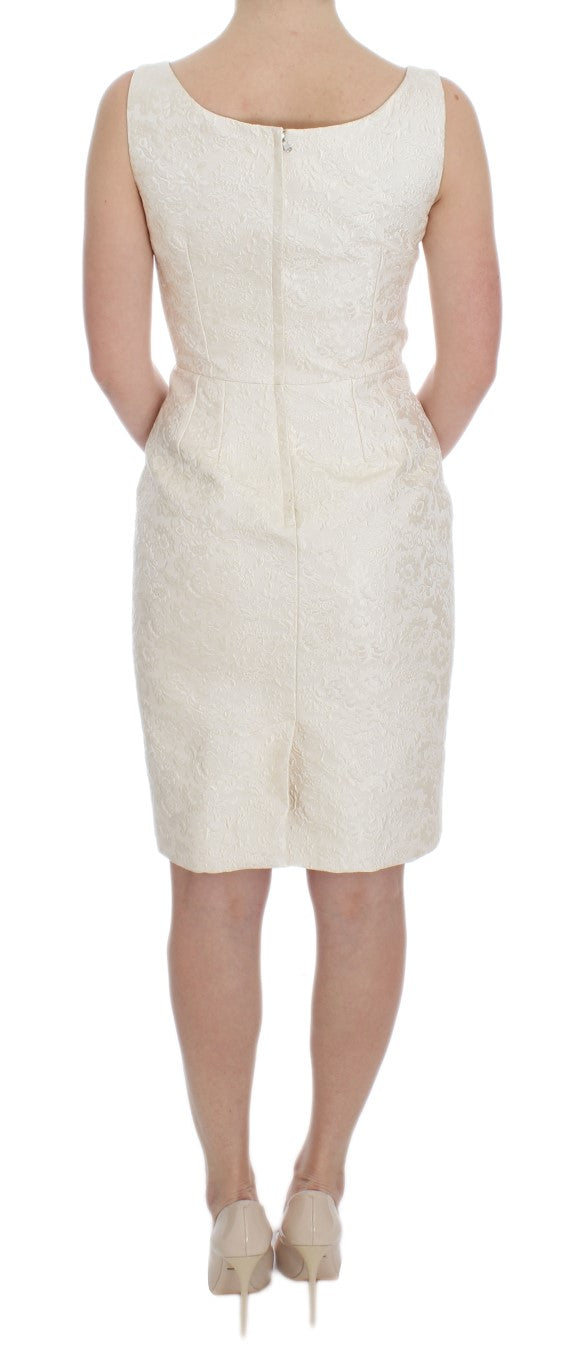 White Brocade Crystal Sheath Dress