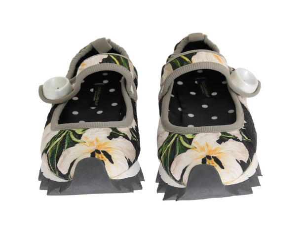 White Tulip Brocade Strap Ballerina Shoes