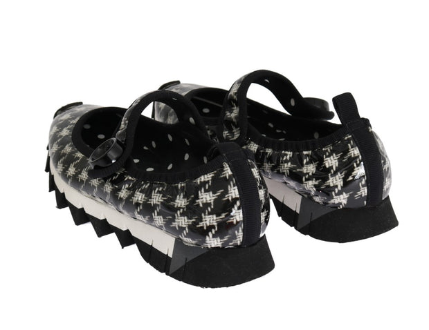 Black White Patent Leather Ballerina Shoes
