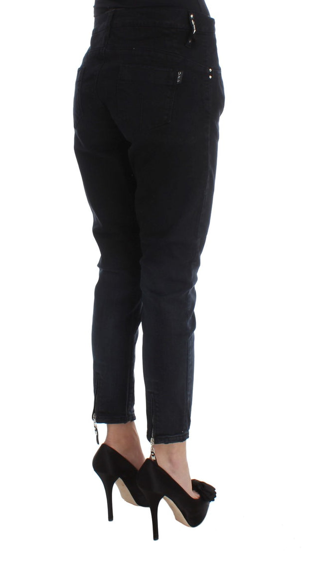 Black Cotton Slim Fit Cropped Jeans