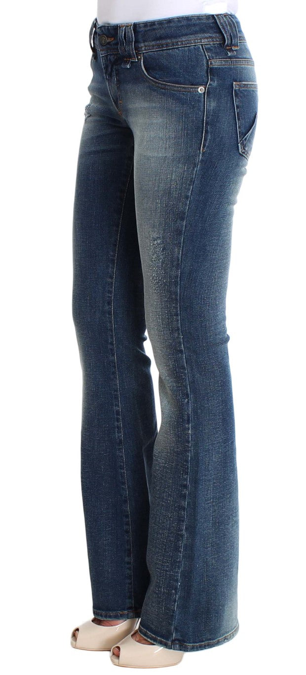 Blue Wash Cotton Stretch Flare Bootcut Jeans