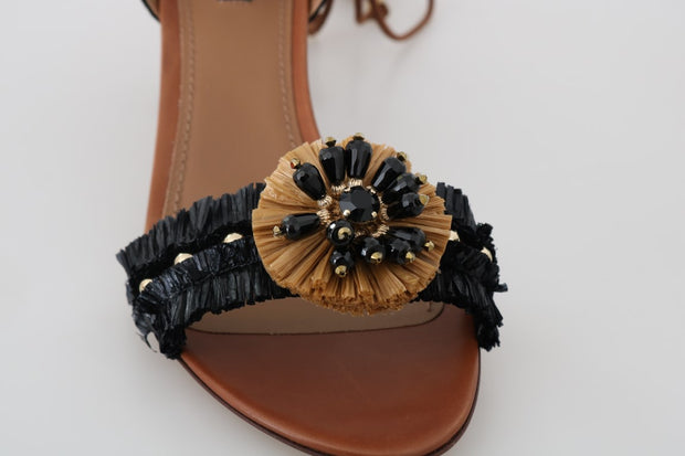 Black Straw PomPom Crystal Strap Sandals