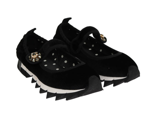 Black Velvet Crystal Strap Ballerina Shoes