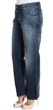 Blue Wash Relaxed Fit Cotton Stretch Denim Jeans