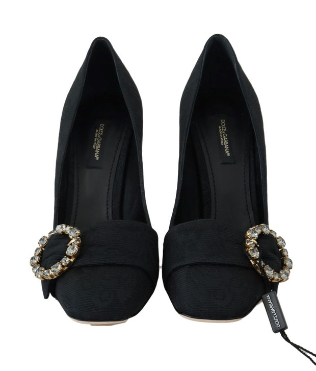 Black Brocade Crystal Mary Janes Pumps
