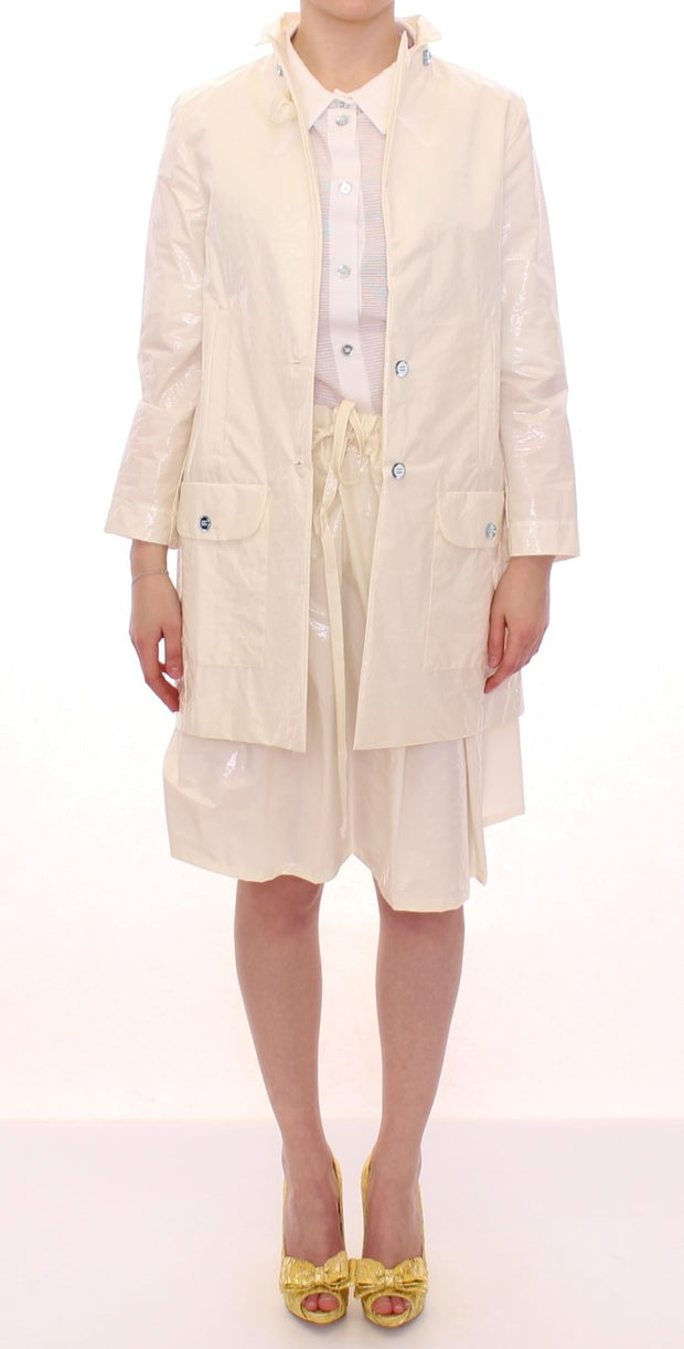 White Viscose Button Front Jacket Coat Trench