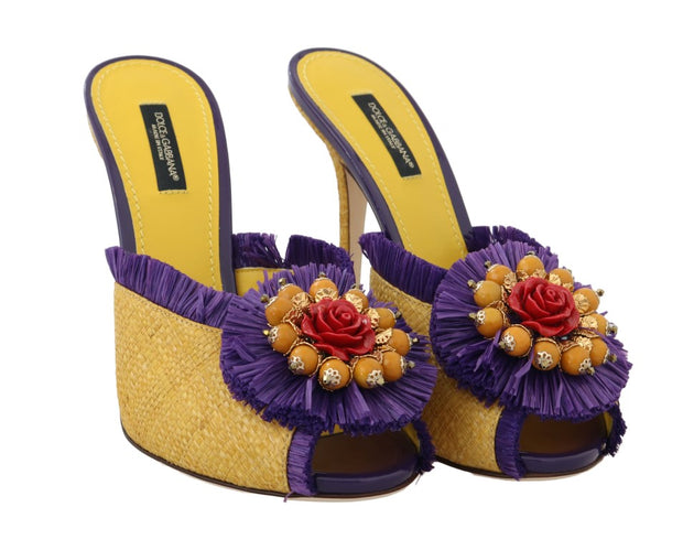 Yellow Straw Slides Crystal Sandals