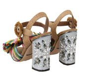 Multicolor Crystal Straw Sandal Shoes