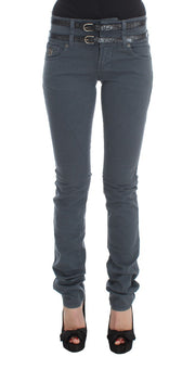 Blue Cotton Blend Slim Fit High Waist Jeans