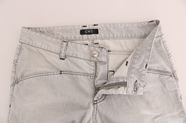 Gray Wash Cotton Slim Jeans