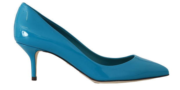 Blue Patent Leather Pumps