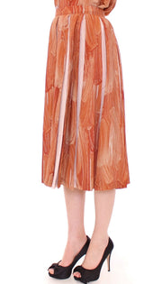 Brown Orange Below Knee Full Skirt