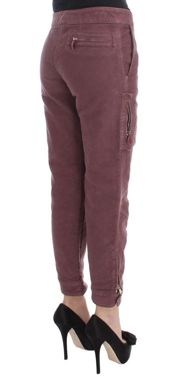 Bordeaux Cotton Cropped Cargo Pants