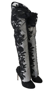 Black Floral Embroidered Socks Boots