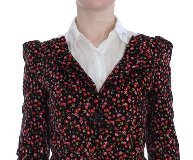 Black Multicolor Floral Suit