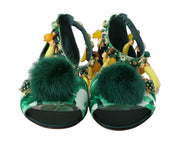 Multicolor Banana Leafs Crystal Fur Sandals