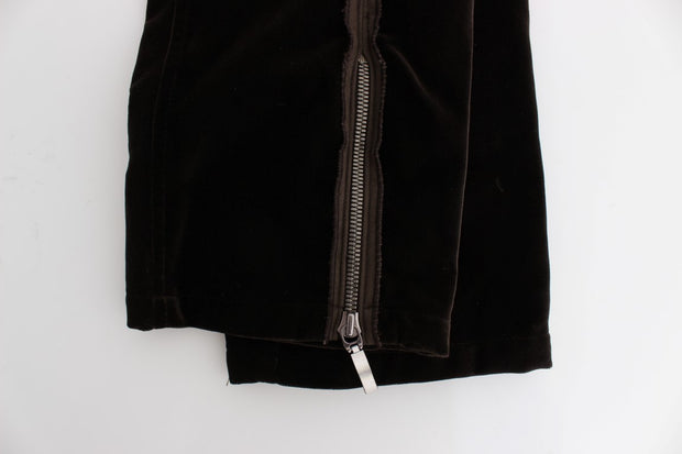 Brown Cotton Velvet Zippers Slim Fit Pants