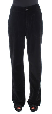 Black Velvet Cotton Straight Legs Pants